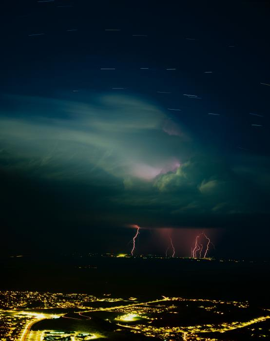 Lightning over a City Motivational Posters