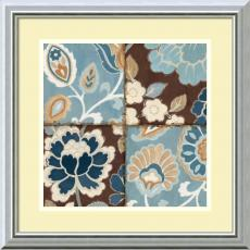 Flowers & Plants - Alain Pelletier Patchwork Motif Blue I Office Art