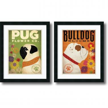 Stephen Fowler Pug & Bulldog Florals - set of 2 Office Art