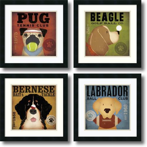 Stephen Fowler Sport Dogs - set of 4 Office Art