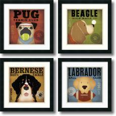 Stephen Fowler - Stephen Fowler Sport Dogs - set of 4 Office Art