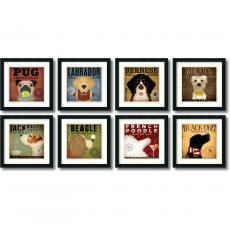 Closeout and Sale Center - Stephen Fowler Stephen Fowler Dogs - set of 8 Office Art