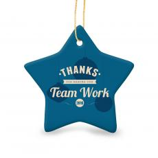 Holiday Themed Gifts - Thanks for Making Our Team Work Star Ceramic Ornament