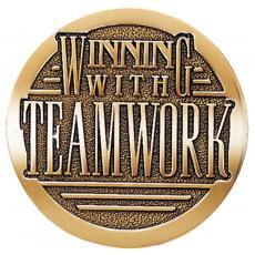 Brass Medallions - Winning with Teamwork Brass Medallion