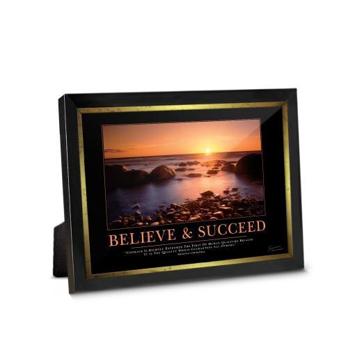Believe & Succeed Sunset Framed Desktop Print