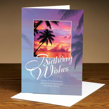 Birthday Wishes Palm Trees 25-Pack Greeting Cards