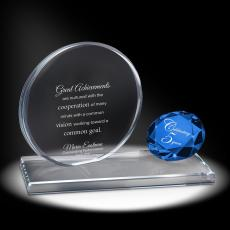 Color Accents - Sapphire Brilliant Accomplishment Crystal Award