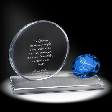 Sapphire Brilliant Accomplishment Crystal Award