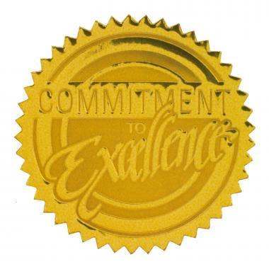 Commitment to Excellence Gold Foil Certificate Seals
