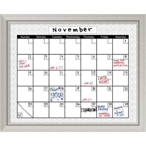Medallion Grey Dry-Erase Board Calendar Office Art