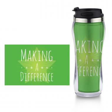 Making a Difference Flip Top Travel Mug