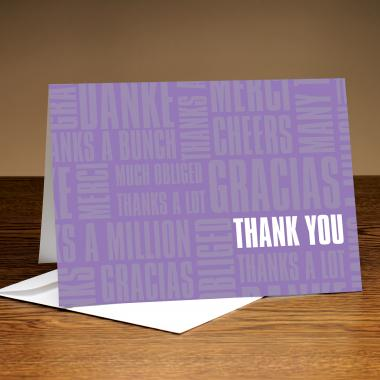 Thanks A Lot Light Purple 25-Pack Greeting Cards