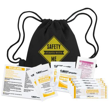 Safety Starts with Me First Aid Cinch Bag