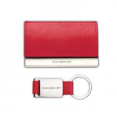 Red Personalized Business Card Holder