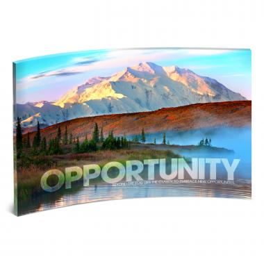 Opportunity Mountain Fog Curved Desktop Acrylic