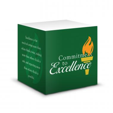 Commitment to Excellence Self-Stick Note Cube
