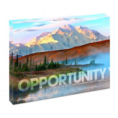 Opportunity Mountain Fog Infinity Edge Acrylic Desktop