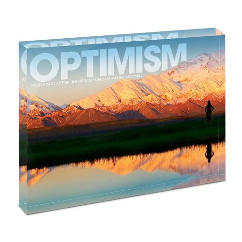 Optimism Mountain Infinity Edge Acrylic Desktop