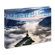 Modern Motivation - Make It Happen Mountain Infinity Edge Acrylic Desktop