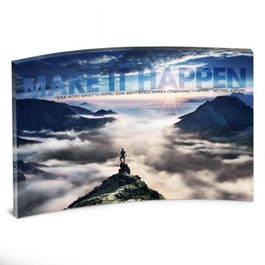 Make It Happen Mountain Curved Desktop Acrylic