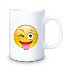 Ceramic Mugs - Winking Tongue Emoji 15oz Ceramic Mug