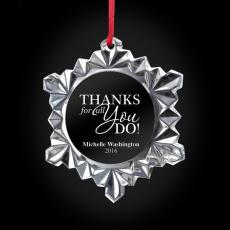 New Products - Thanks for All You Do Snowflake Crystal Ornament