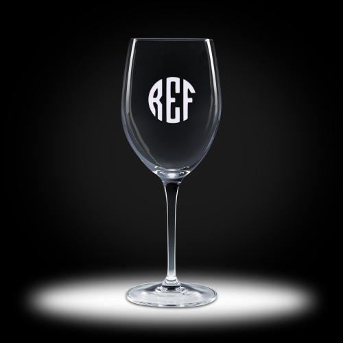Custom Etched White Wine Crystal Stemware