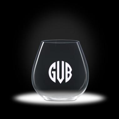 Custom Etched Stemless Pinot Wine Glasses
