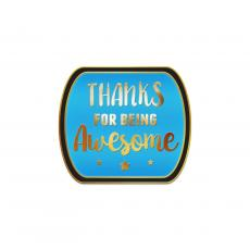 Recognition Pins - Thanks for Being Awesome Aqua Lapel Pin
