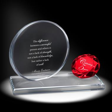 Ruby Brilliant Accomplishment Crystal Award