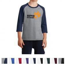 Unisex - Port & Company® Youth Core Blend 3/4-Sleeve Raglan Tee