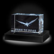 Personalized Paperweights - Dare To Soar Eagle 3D Crystal Award