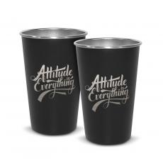 Personalized - Pair of Attitude is Everything 16oz Stainless Steel Pint Cup