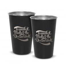 New Drinkware - Pair of Teamwork Dream Work 16oz Stainless Steel Pint Cup