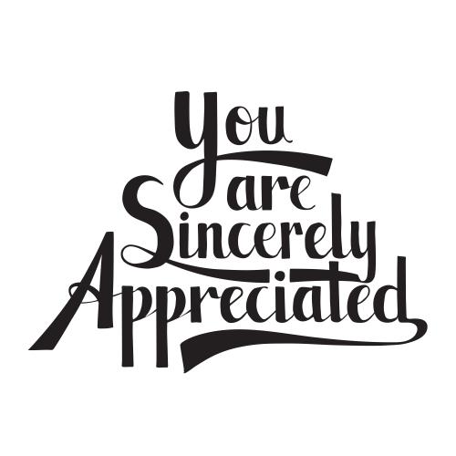 Sincerely Appreciated