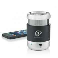 Phone Accessories - Brookstone<sup>®</sup> - Black ABS plastic mini bluetooth wireless mobile speaker with chrome plated cap