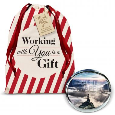 Make It Happen Mountain Positive Outlook Paperweight Holiday Gift Set