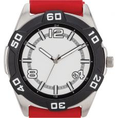 Fashion Accessories - Sport style watch with brushed metal case, date display and silicone straps