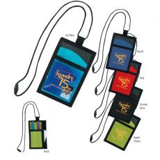 Tradeshow & Event Supplies - Good Value<sup>™</sup> - Cool wave neck wallet. Breakaway cord and vertical front I.D. pocket