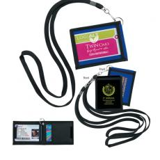 Tradeshow & Event Supplies - Good Value<sup>™</sup> - Folding neck wallet. 3 pockets. Black lanyard with snap clip and split ring attached