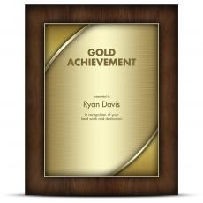 Designer Plaque Walnut Gold