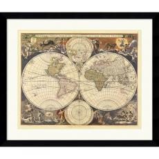 Ria Visscher New World Map, 17th Century Office Art