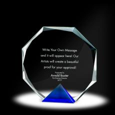 Glass Trophies - Keystone Octagon Crystal Award
