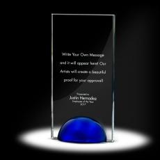 Glass Trophies - Sphere Tower Crystal Award