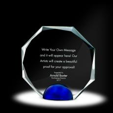 Glass Trophies - Sphere Octagon Crystal Award