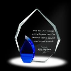 Glass Trophies - Flame Radiant Crystal Award