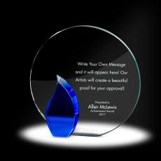 Glass Trophies - Flame Circle Crystal Award