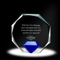 Glass Trophies - Diamond Octagon Crystal Award