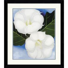 Georgia O'Keeffe Two Jimson Weeds With Green Leaves and Blue Sky Office Art