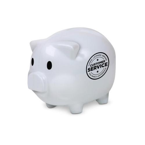 Customer Service Piggie Bank White